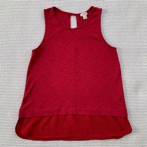 J.Crew Red Sleeveless Drapey Top with Silky Hem